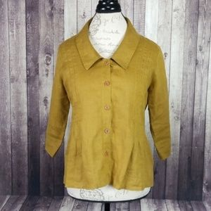 Flax pleat front 3/4 sleeve button down top